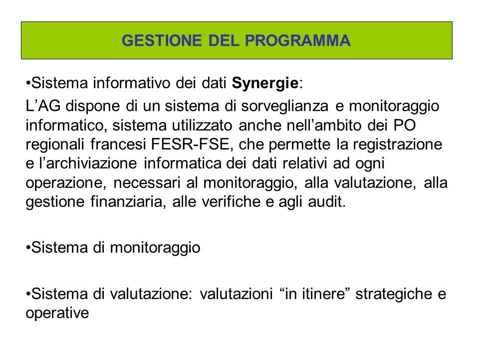 Sistema informativo dei dati Synergie: L'AG dispone di un sistema di sorveglianza e monitoraggio informatico, sistema utilizzato anche nell'ambito dei