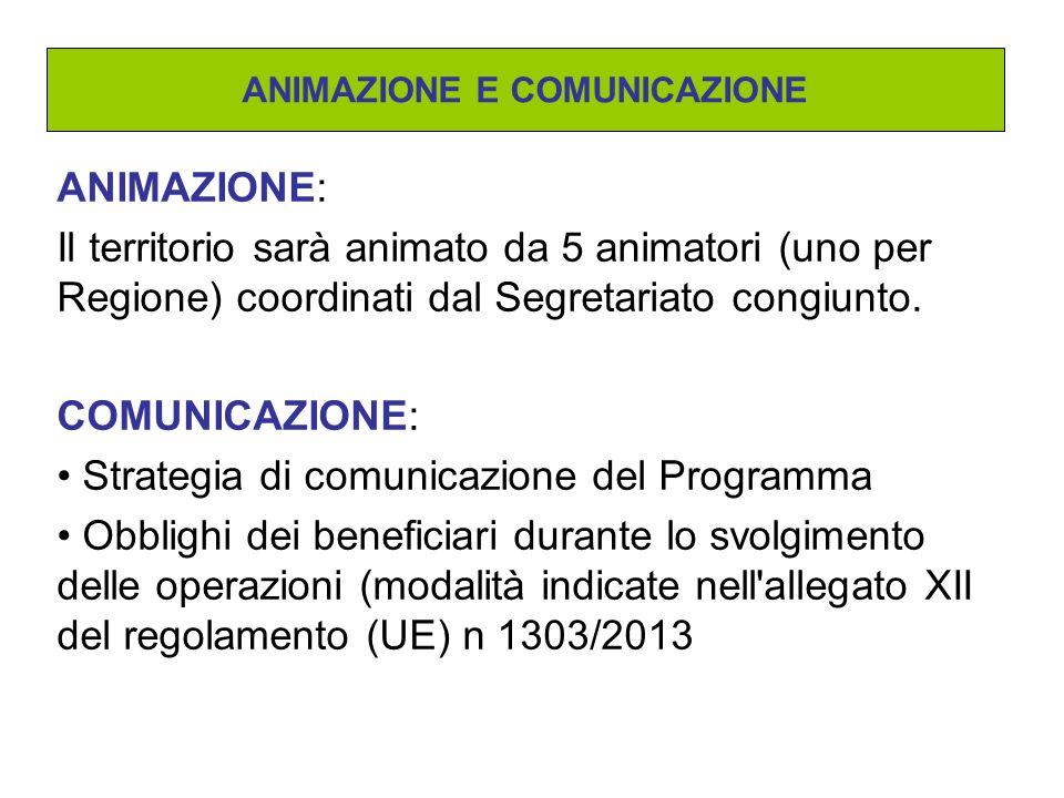 ANIMAZIONE: Il territorio sarà animato da 5 animatori (uno per Regione) coordinati dal Segretariato congiunto. COMUNICAZIONE: Strategia di comunicazio