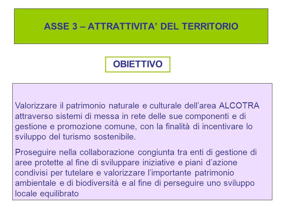 ASSE 3 – ATTRATTIVITA' DEL TERRITORIO OBIETTIVO Valorizzare il patrimonio naturale e culturale dell'area ALCOTRA attraverso sistemi di messa in rete d