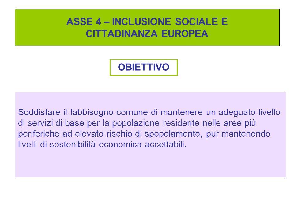 ASSE 4 – INCLUSIONE SOCIALE E CITTADINANZA EUROPEA OBIETTIVO Soddisfare il fabbisogno comune di mantenere un adeguato livello di servizi di base per l