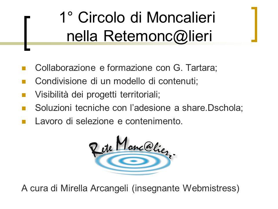 1° Circolo di Moncalieri nella Retemonc@lieri Collaborazione e formazione con G. Tartara; Condivisione di un modello di contenuti; Visibilità dei prog