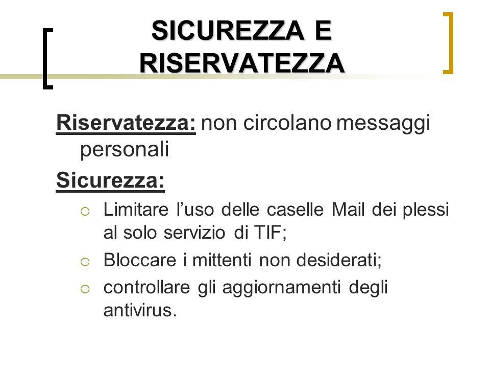 SICUREZZA E RISERVATEZZA Riservatezza: non circolano messaggi personali Sicurezza:  Limitare l'uso delle caselle Mail dei plessi al solo servizio di