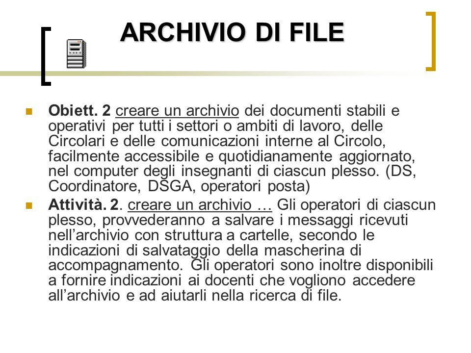 ARCHIVIO DI FILE Obiett. 2 creare un archivio dei documenti stabili e operativi per tutti i settori o ambiti di lavoro, delle Circolari e delle comuni