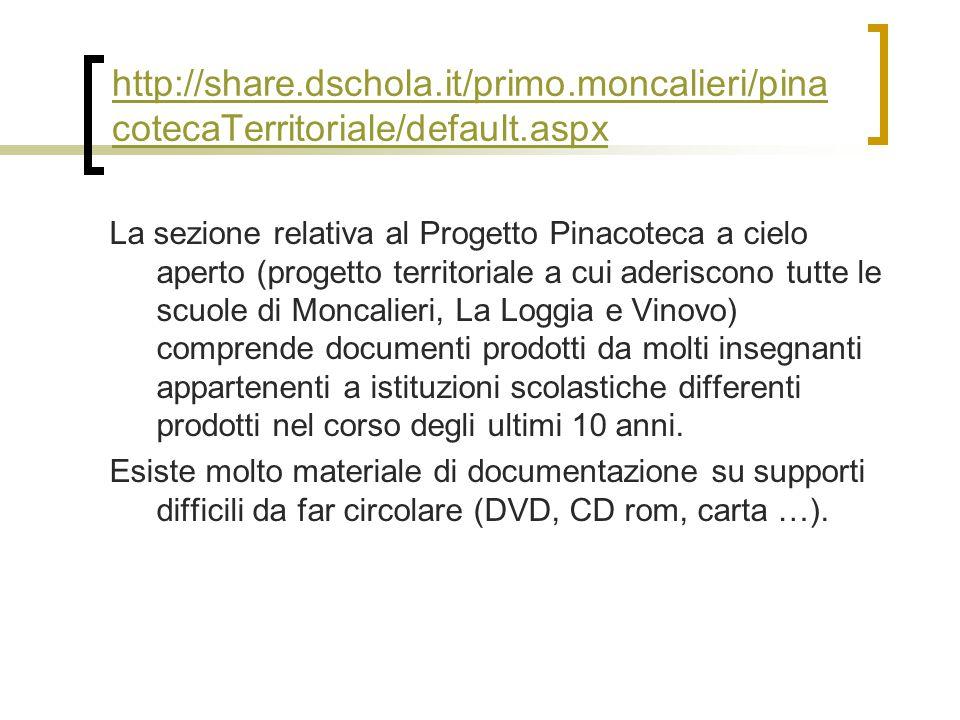http://share.dschola.it/primo.moncalieri/pina cotecaTerritoriale/default.aspx La sezione relativa al Progetto Pinacoteca a cielo aperto (progetto terr