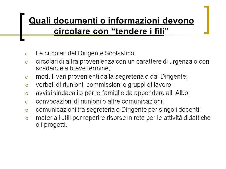 """Quali documenti o informazioni devono circolare con """"tendere i fili""""  Le circolari del Dirigente Scolastico;  circolari di altra provenienza con un"""