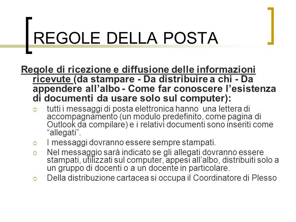 REGOLE DELLA POSTA Regole di ricezione e diffusione delle informazioni ricevute (da stampare - Da distribuire a chi - Da appendere all'albo - Come far