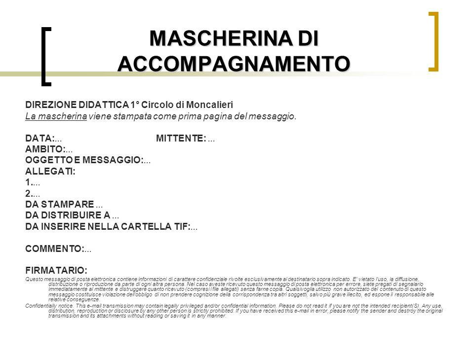 MASCHERINA DI ACCOMPAGNAMENTO DIREZIONE DIDATTICA 1° Circolo di Moncalieri La mascherina viene stampata come prima pagina del messaggio. DATA:... MITT