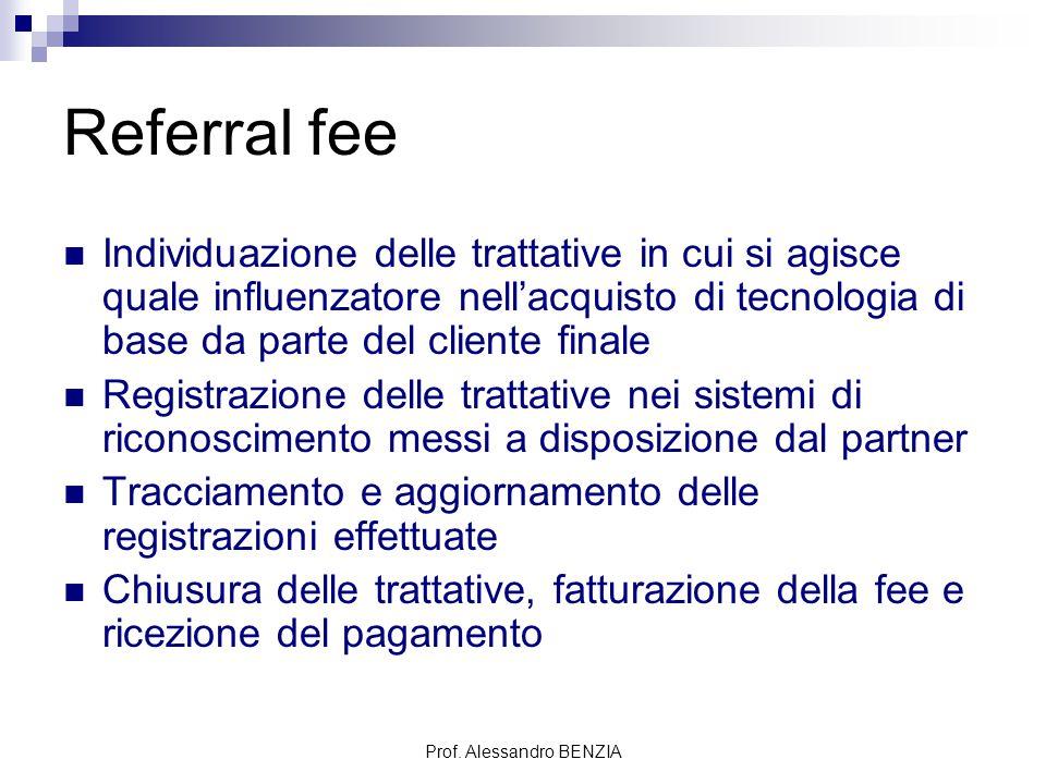 Prof. Alessandro BENZIA Referral fee Individuazione delle trattative in cui si agisce quale influenzatore nell'acquisto di tecnologia di base da parte