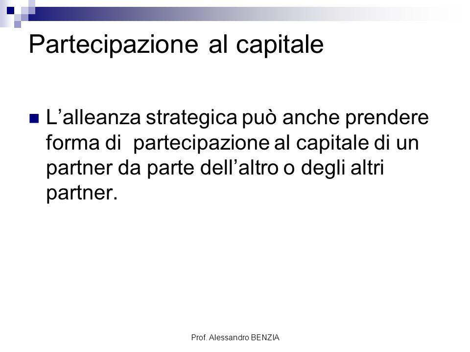 Prof. Alessandro BENZIA Partecipazione al capitale L'alleanza strategica può anche prendere forma di partecipazione al capitale di un partner da parte