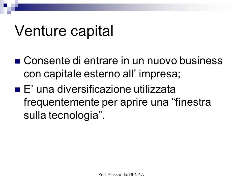 Prof. Alessandro BENZIA Venture capital Consente di entrare in un nuovo business con capitale esterno all' impresa; E' una diversificazione utilizzata