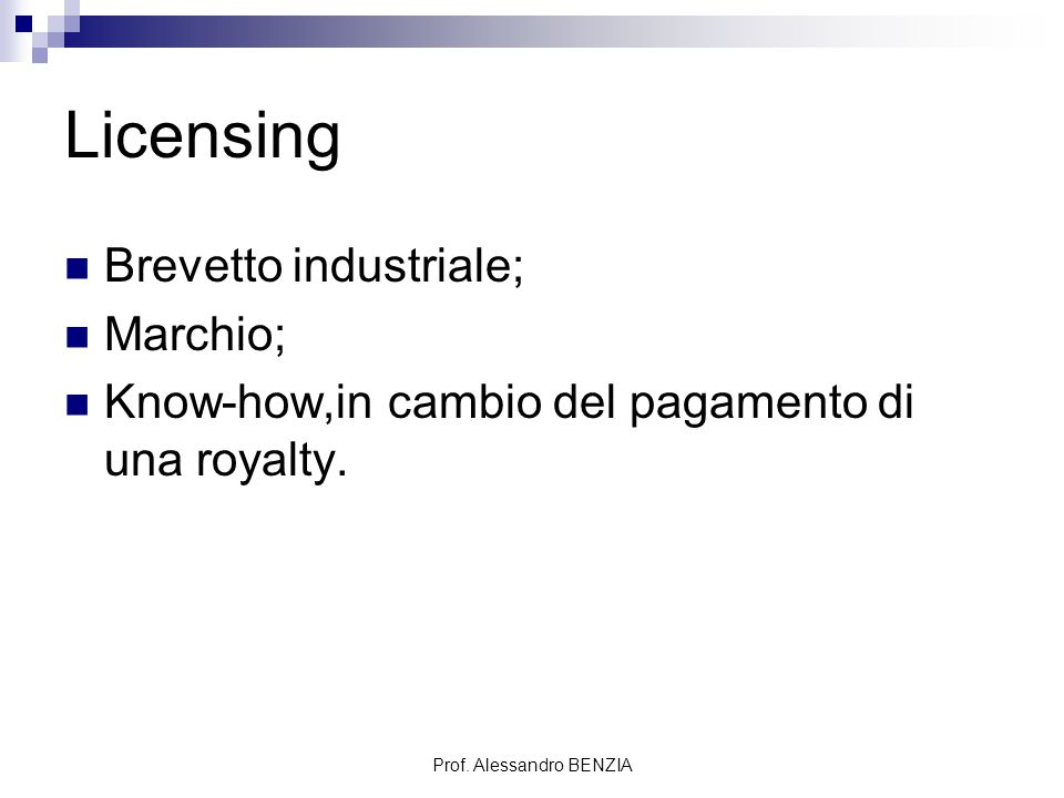 Prof. Alessandro BENZIA Licensing Brevetto industriale; Marchio; Know-how,in cambio del pagamento di una royalty.