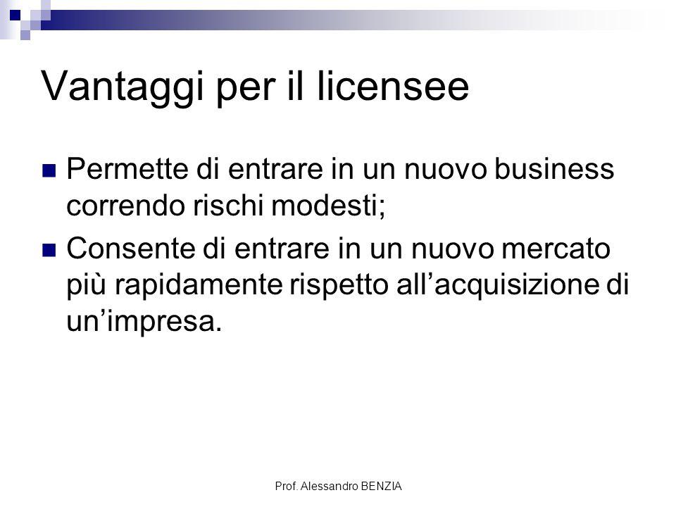 Prof. Alessandro BENZIA Vantaggi per il licensee Permette di entrare in un nuovo business correndo rischi modesti; Consente di entrare in un nuovo mer