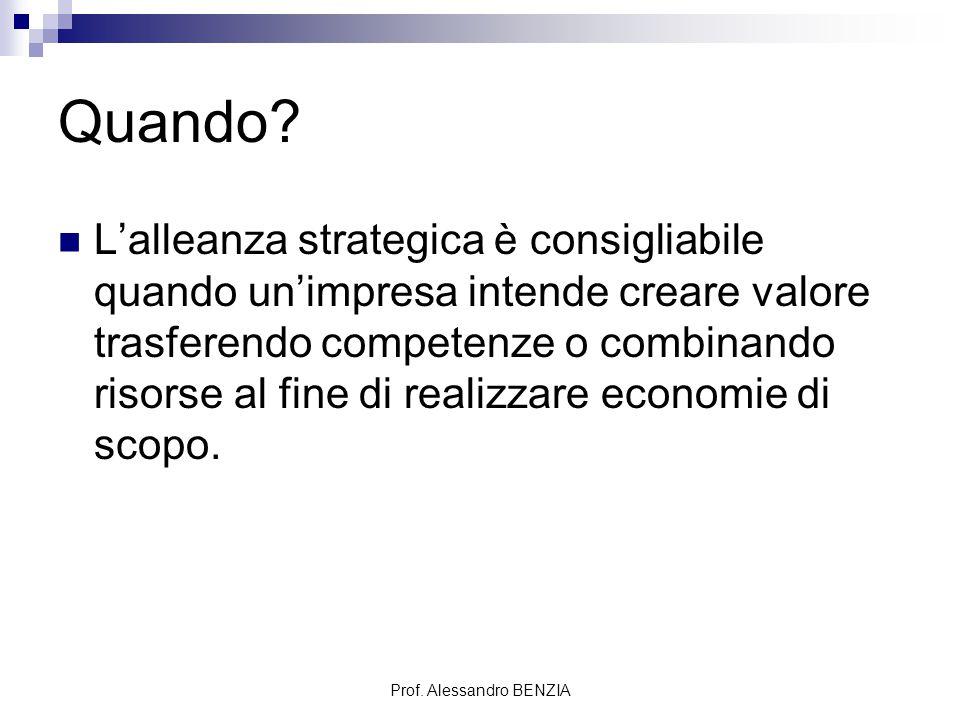 Prof. Alessandro BENZIA Quando? L'alleanza strategica è consigliabile quando un'impresa intende creare valore trasferendo competenze o combinando riso