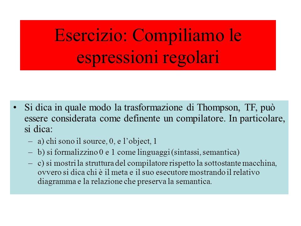Si dica in quale modo la trasformazione di Thompson, TF, può essere considerata come definente un compilatore. In particolare, si dica: –a) chi sono i