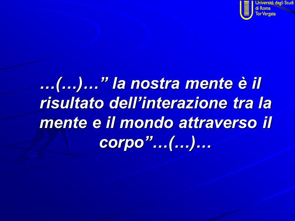"""…(…)…"""" la nostra mente è il risultato dell'interazione tra la mente e il mondo attraverso il corpo""""…(…)…"""
