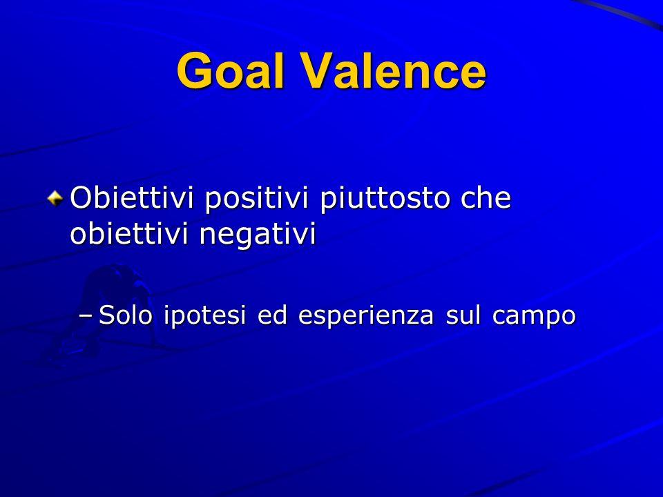 Goal Valence Obiettivi positivi piuttosto che obiettivi negativi –Solo ipotesi ed esperienza sul campo