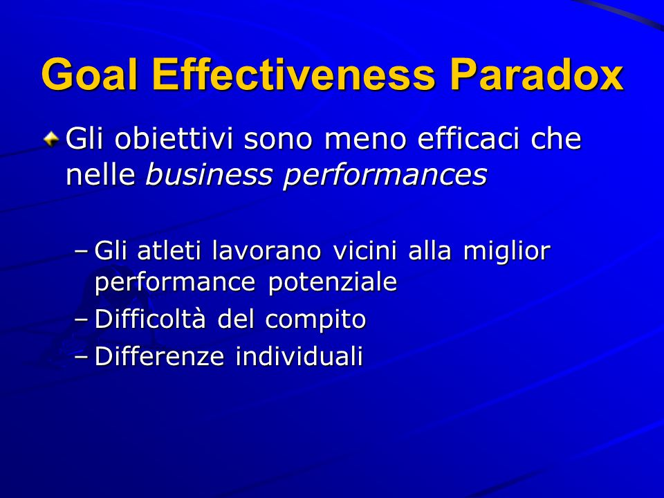 Goal Effectiveness Paradox Gli obiettivi sono meno efficaci che nelle business performances –Gli atleti lavorano vicini alla miglior performance potenziale –Difficoltà del compito –Differenze individuali