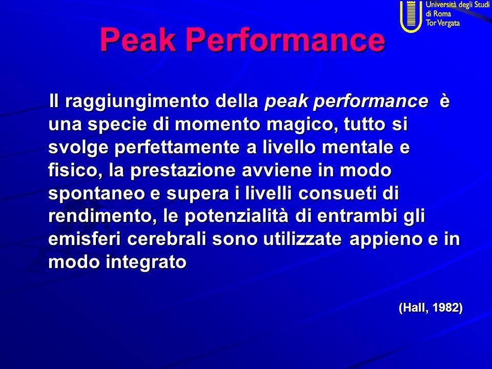Peak Performance Il raggiungimento della peak performance è una specie di momento magico, tutto si svolge perfettamente a livello mentale e fisico, la prestazione avviene in modo spontaneo e supera i livelli consueti di rendimento, le potenzialità di entrambi gli emisferi cerebrali sono utilizzate appieno e in modo integrato Il raggiungimento della peak performance è una specie di momento magico, tutto si svolge perfettamente a livello mentale e fisico, la prestazione avviene in modo spontaneo e supera i livelli consueti di rendimento, le potenzialità di entrambi gli emisferi cerebrali sono utilizzate appieno e in modo integrato (Hall, 1982) (Hall, 1982)