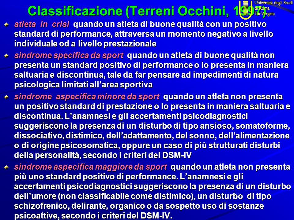 Classificazione (Terreni Occhini, 1997) atleta in crisi quando un atleta di buone qualità con un positivo standard di performance, attraversa un momen