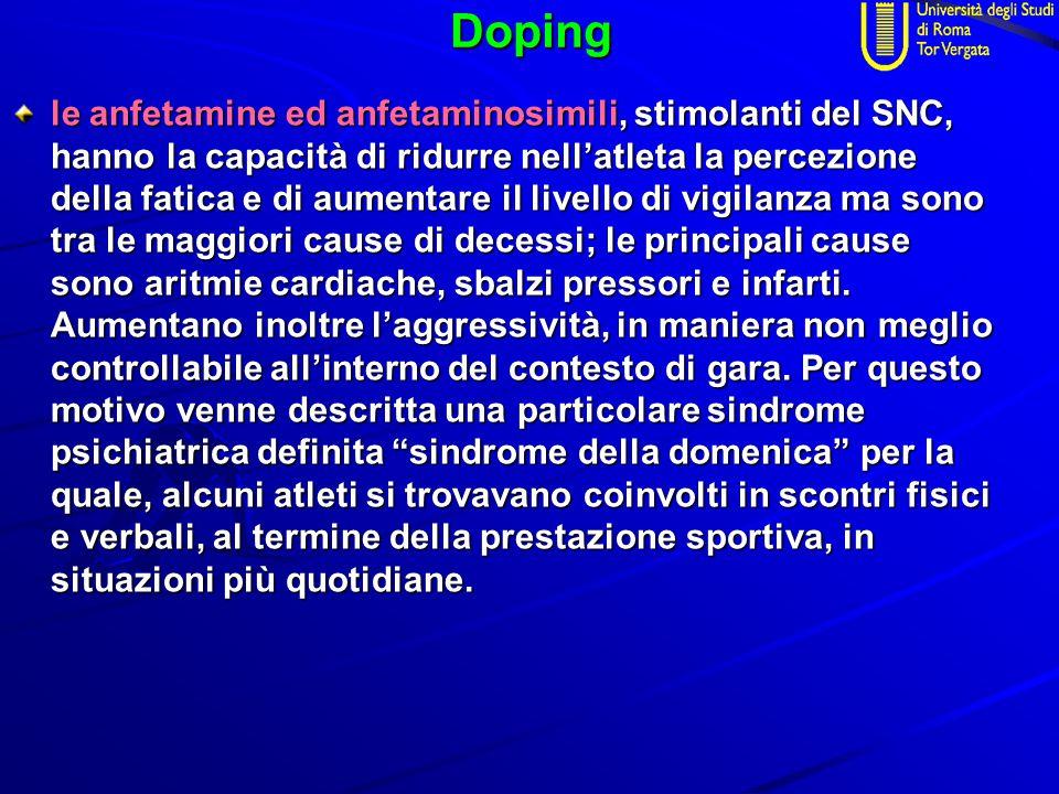 Doping le anfetamine ed anfetaminosimili, stimolanti del SNC, hanno la capacità di ridurre nell'atleta la percezione della fatica e di aumentare il li