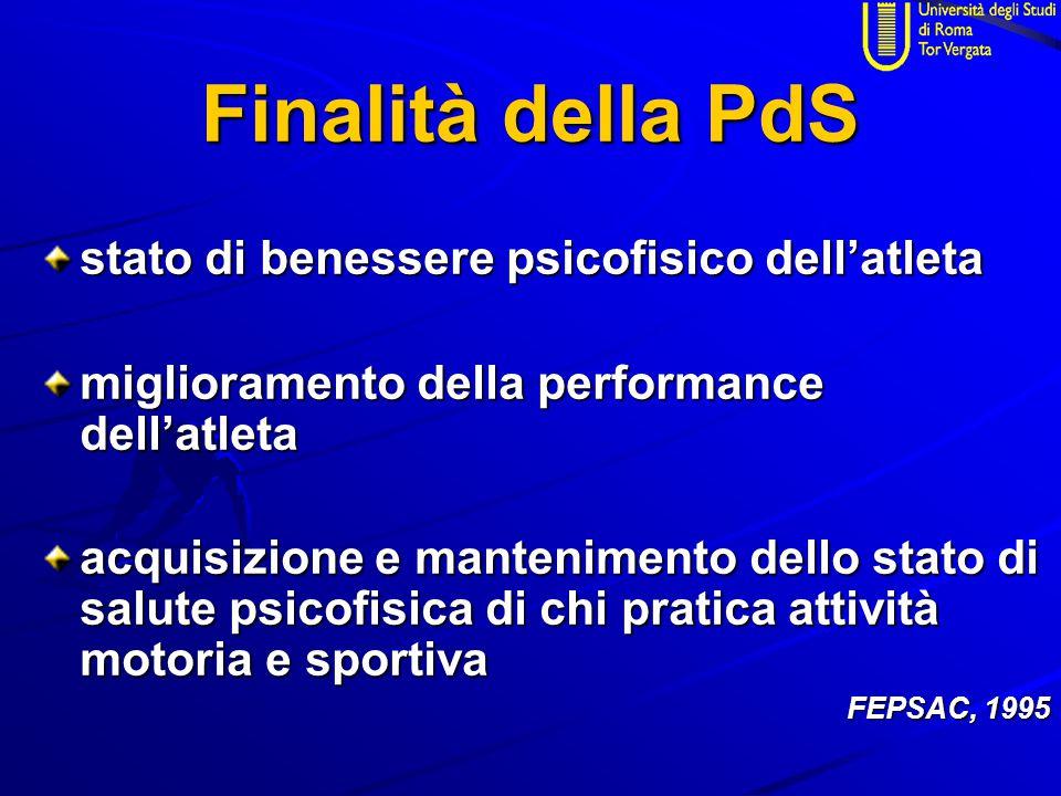 Finalità della PdS stato di benessere psicofisico dell'atleta miglioramento della performance dell'atleta acquisizione e mantenimento dello stato di salute psicofisica di chi pratica attività motoria e sportiva FEPSAC, 1995