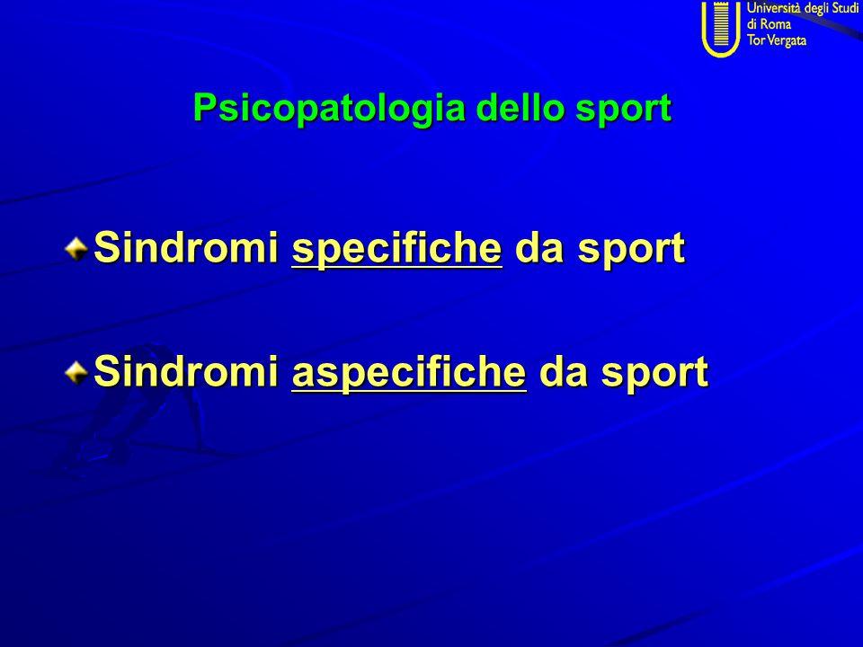 Sindromi specifiche da sport sindrome del campione (Master Syndrome) nikefobia (success phobia) ansia preagonistica (prestart anxiety) depressione da successo burn-out sportivo doping