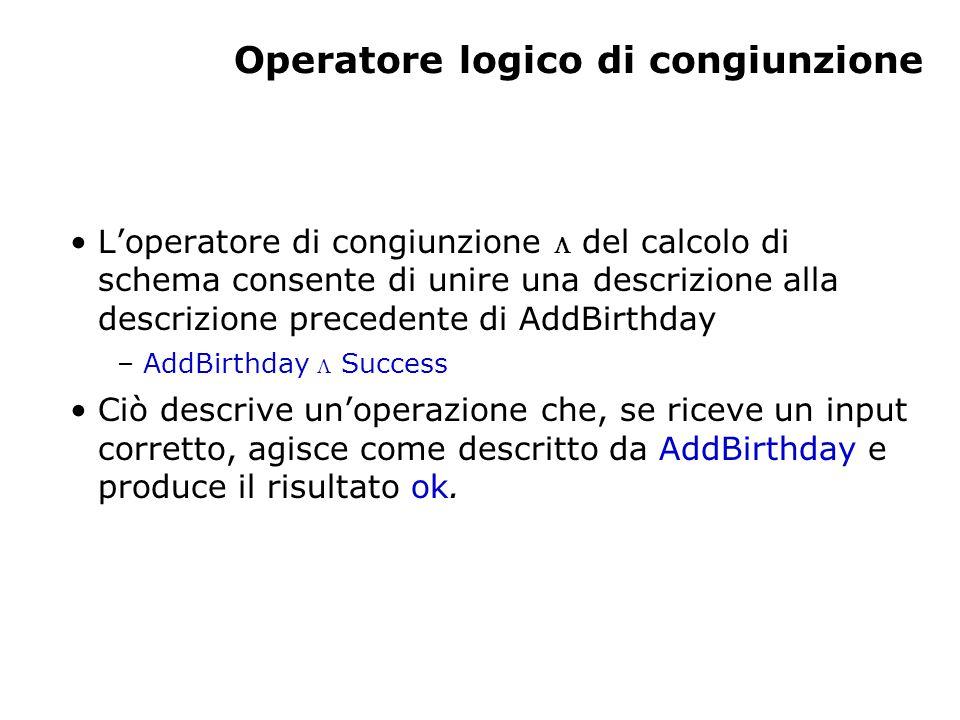 Operatore logico di congiunzione L'operatore di congiunzione  del calcolo di schema consente di unire una descrizione alla descrizione precedente di AddBirthday – AddBirthday  Success Ciò descrive un'operazione che, se riceve un input corretto, agisce come descritto da AddBirthday e produce il risultato ok.