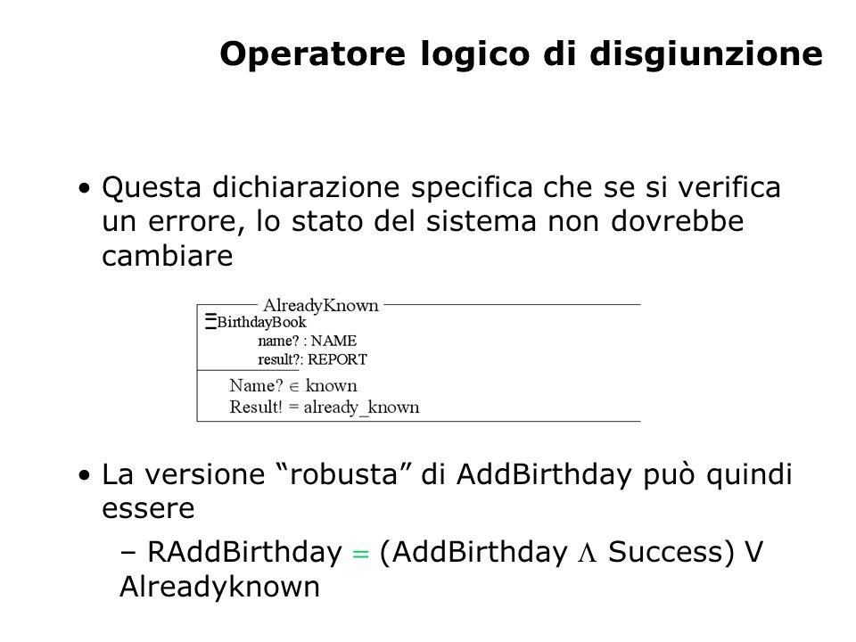 Operatore logico di disgiunzione Questa dichiarazione specifica che se si verifica un errore, lo stato del sistema non dovrebbe cambiare La versione robusta di AddBirthday può quindi essere – RAddBirthday  (AddBirthday  Success) V Alreadyknown