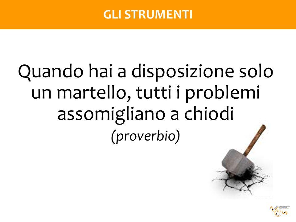 Quando hai a disposizione solo un martello, tutti i problemi assomigliano a chiodi (proverbio) GLI STRUMENTI