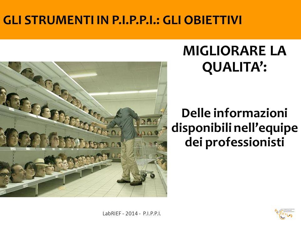 GLI STRUMENTI IN P.I.P.P.I.: GLI OBIETTIVI MIGLIORARE LA QUALITA': Delle informazioni disponibili nell'equipe dei professionisti LabRIEF - 2014 - P.I.P.P.I.