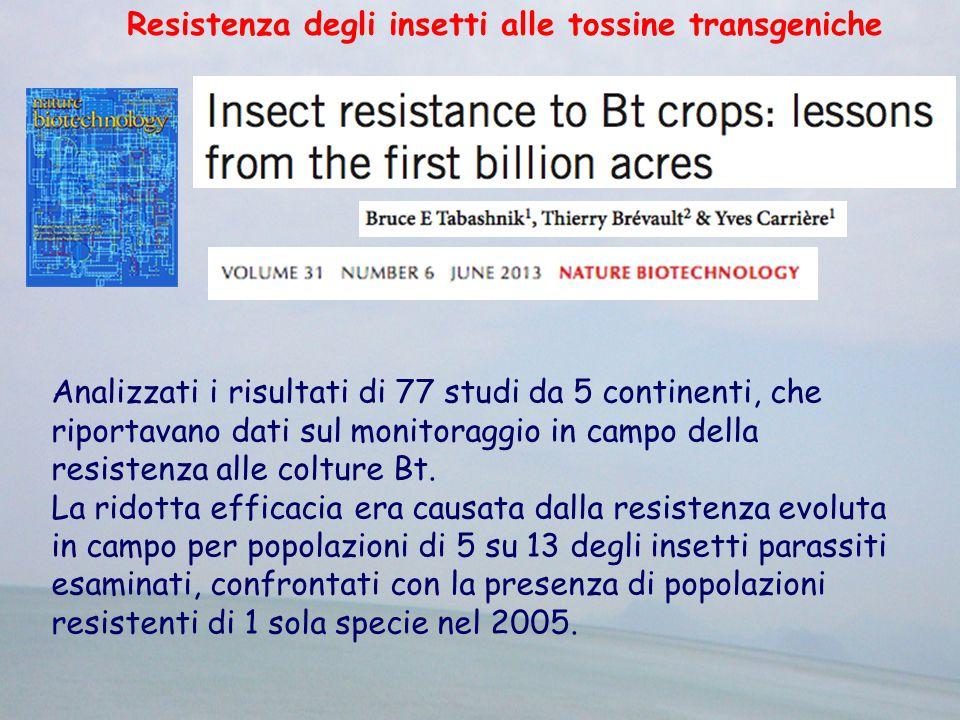 Resistenza degli insetti alle tossine transgeniche Analizzati i risultati di 77 studi da 5 continenti, che riportavano dati sul monitoraggio in campo della resistenza alle colture Bt.