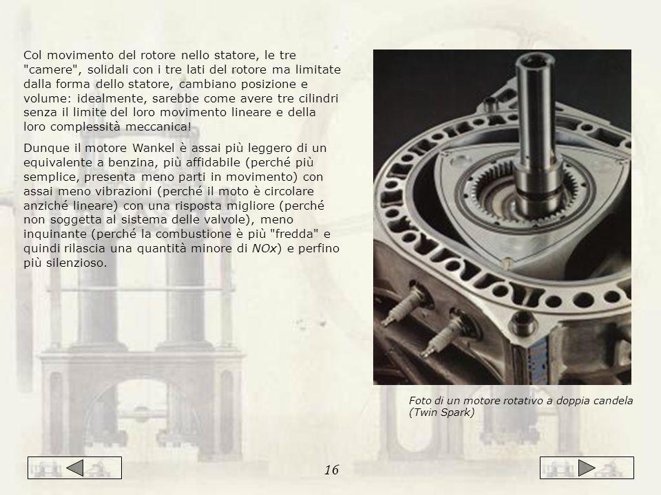 Col movimento del rotore nello statore, le tre camere , solidali con i tre lati del rotore ma limitate dalla forma dello statore, cambiano posizione e volume: idealmente, sarebbe come avere tre cilindri senza il limite del loro movimento lineare e della loro complessità meccanica.