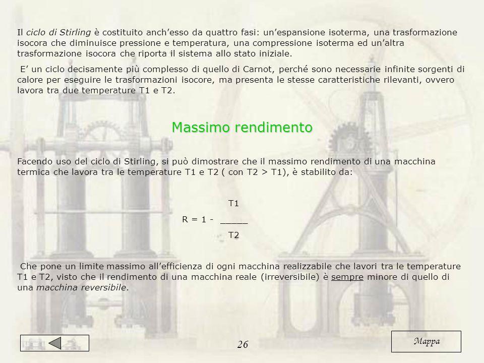 Il ciclo di Stirling è costituito anch'esso da quattro fasi: un'espansione isoterma, una trasformazione isocora che diminuisce pressione e temperatura, una compressione isoterma ed un'altra trasformazione isocora che riporta il sistema allo stato iniziale.