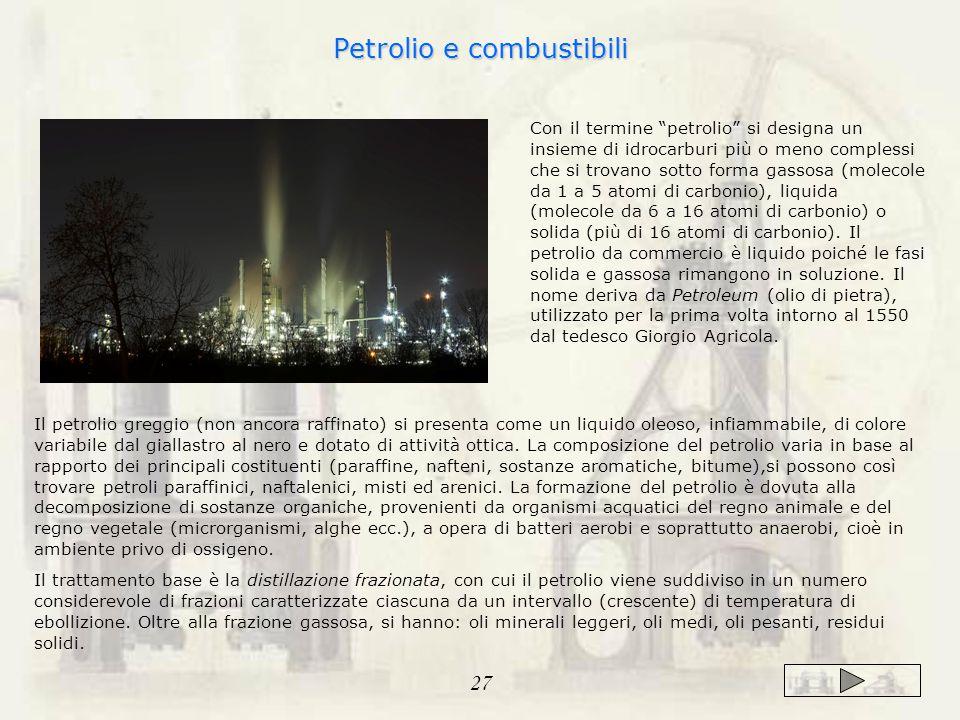Con il termine petrolio si designa un insieme di idrocarburi più o meno complessi che si trovano sotto forma gassosa (molecole da 1 a 5 atomi di carbonio), liquida (molecole da 6 a 16 atomi di carbonio) o solida (più di 16 atomi di carbonio).