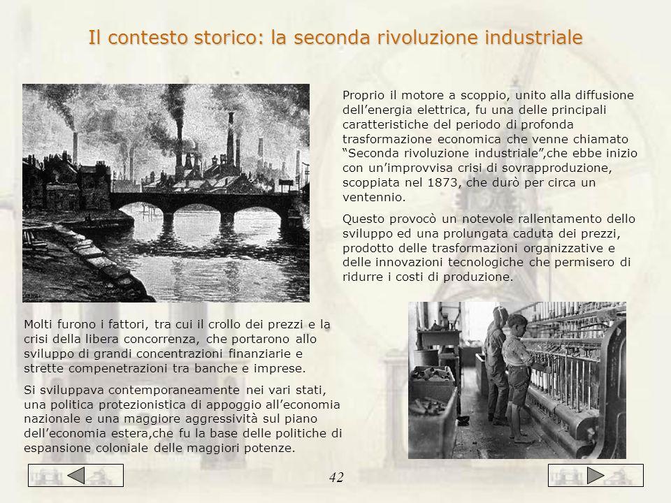 Proprio il motore a scoppio, unito alla diffusione dell'energia elettrica, fu una delle principali caratteristiche del periodo di profonda trasformazione economica che venne chiamato Seconda rivoluzione industriale ,che ebbe inizio con un'improvvisa crisi di sovrapproduzione, scoppiata nel 1873, che durò per circa un ventennio.