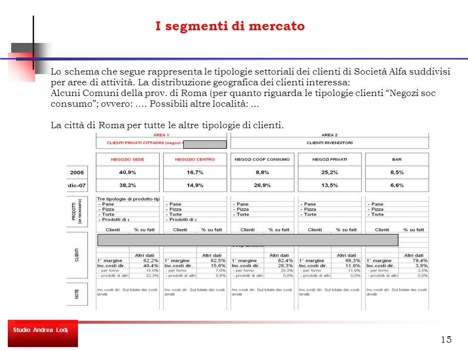 15 I segmenti di mercato Lo schema che segue rappresenta le tipologie settoriali dei clienti di Società Alfa suddivisi per aree di attività.