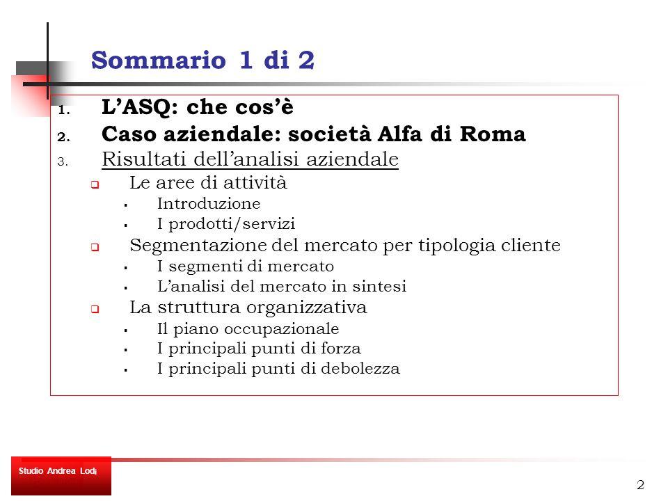 2 Sommario 1 di 2 1. L'ASQ: che cos'è 2. Caso aziendale: società Alfa di Roma 3.