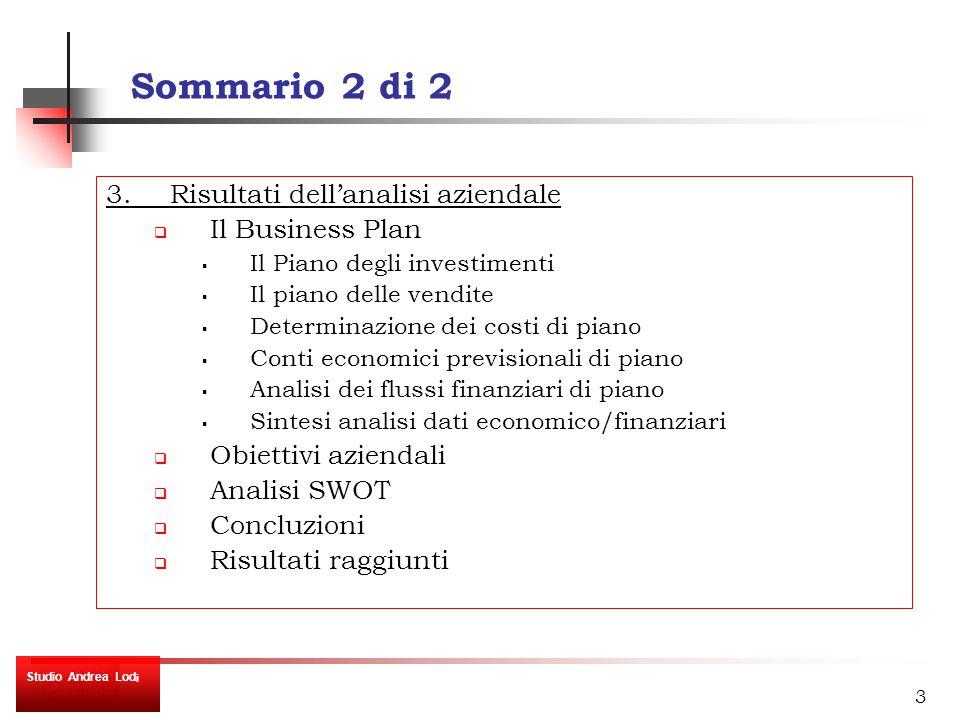 14 Le aree di attività: segmentazione per tipologia cliente Risultati dell'analisi aziendale Studio Andrea Lod i