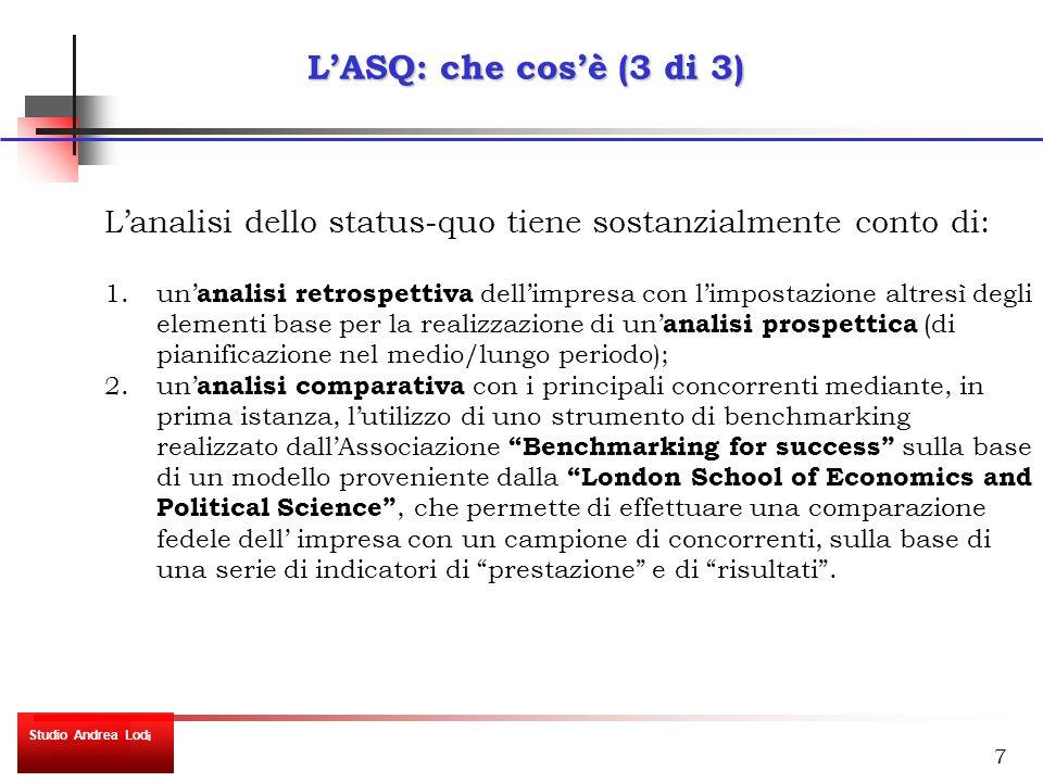 7 L'ASQ: che cos'è (3 di 3) L'analisi dello status-quo tiene sostanzialmente conto di: 1.un' analisi retrospettiva dell'impresa con l'impostazione altresì degli elementi base per la realizzazione di un' analisi prospettica (di pianificazione nel medio/lungo periodo); 2.un' analisi comparativa con i principali concorrenti mediante, in prima istanza, l'utilizzo di uno strumento di benchmarking realizzato dall'Associazione Benchmarking for success sulla base di un modello proveniente dalla London School of Economics and Political Science , che permette di effettuare una comparazione fedele dell' impresa con un campione di concorrenti, sulla base di una serie di indicatori di prestazione e di risultati .