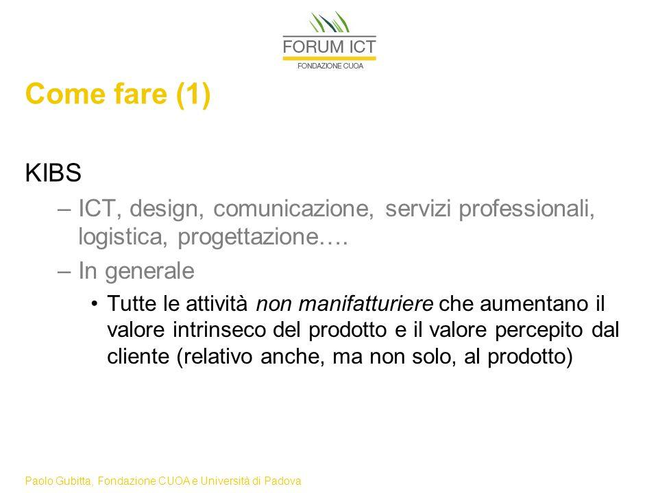 Paolo Gubitta, Fondazione CUOA e Università di Padova Come fare (1) KIBS –ICT, design, comunicazione, servizi professionali, logistica, progettazione….