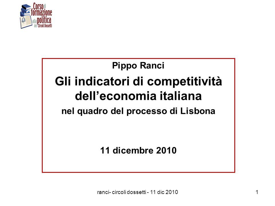 ranci- circoli dossetti - 11 dic 20101 Pippo Ranci Gli indicatori di competitività dell'economia italiana nel quadro del processo di Lisbona 11 dicembre 2010