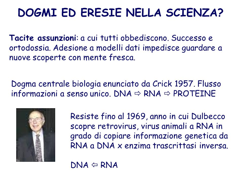 Resiste fino al 1969, anno in cui Dulbecco scopre retrovirus, virus animali a RNA in grado di copiare informazione genetica da RNA a DNA x enzima tras
