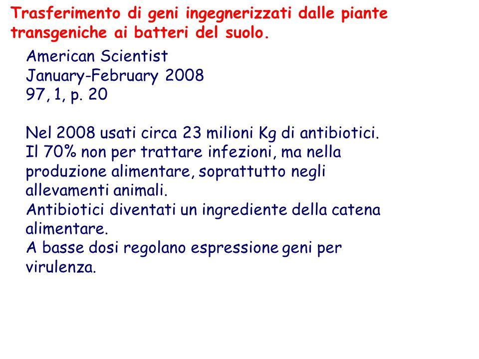 American Scientist January-February 2008 97, 1, p. 20 Nel 2008 usati circa 23 milioni Kg di antibiotici. Il 70% non per trattare infezioni, ma nella p