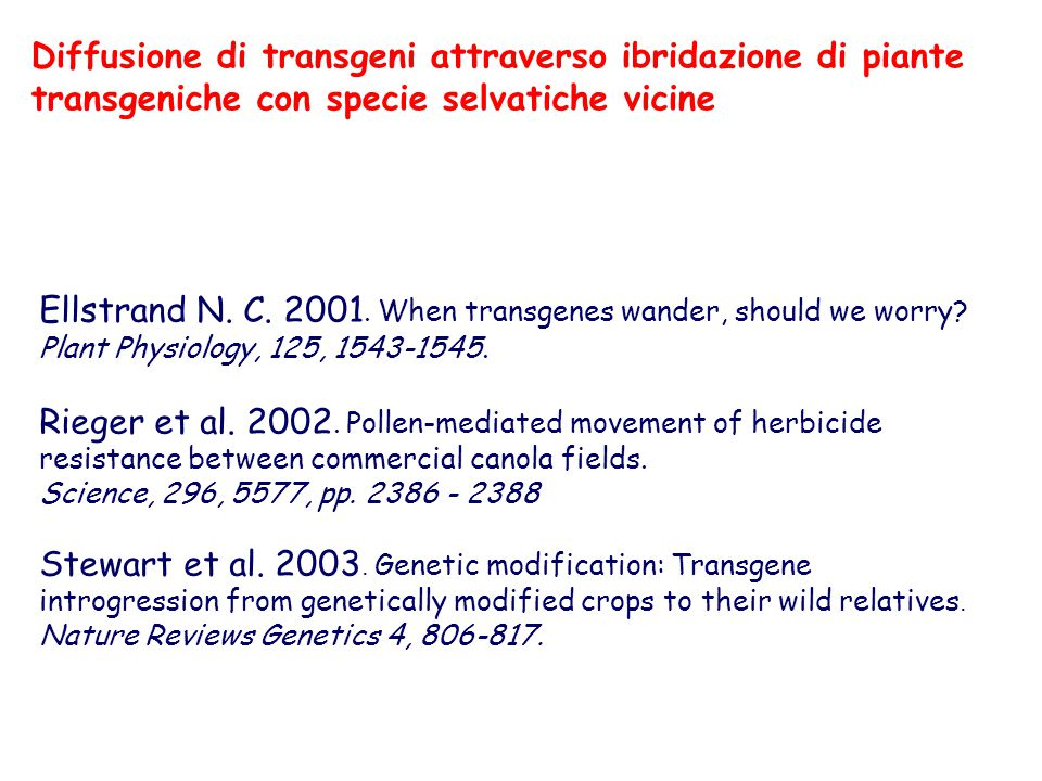 Ellstrand N. C. 2001. When transgenes wander, should we worry? Plant Physiology, 125, 1543-1545. Rieger et al. 2002. Pollen-mediated movement of herbi