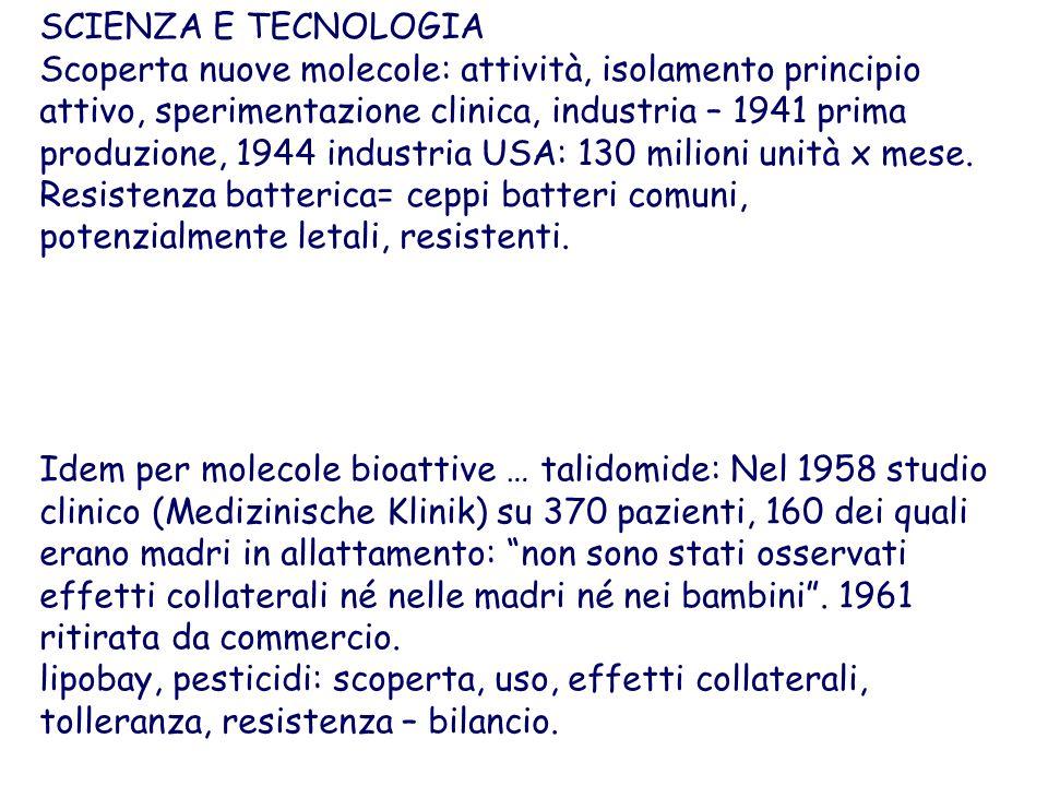 SCIENZA E TECNOLOGIA Scoperta nuove molecole: attività, isolamento principio attivo, sperimentazione clinica, industria – 1941 prima produzione, 1944 industria USA: 130 milioni unità x mese.