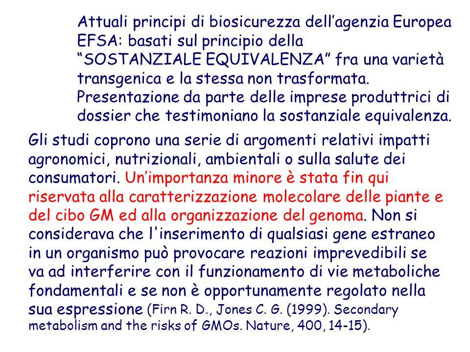"""Attuali principi di biosicurezza dell'agenzia Europea EFSA: basati sul principio della """"SOSTANZIALE EQUIVALENZA"""" fra una varietà transgenica e la stes"""