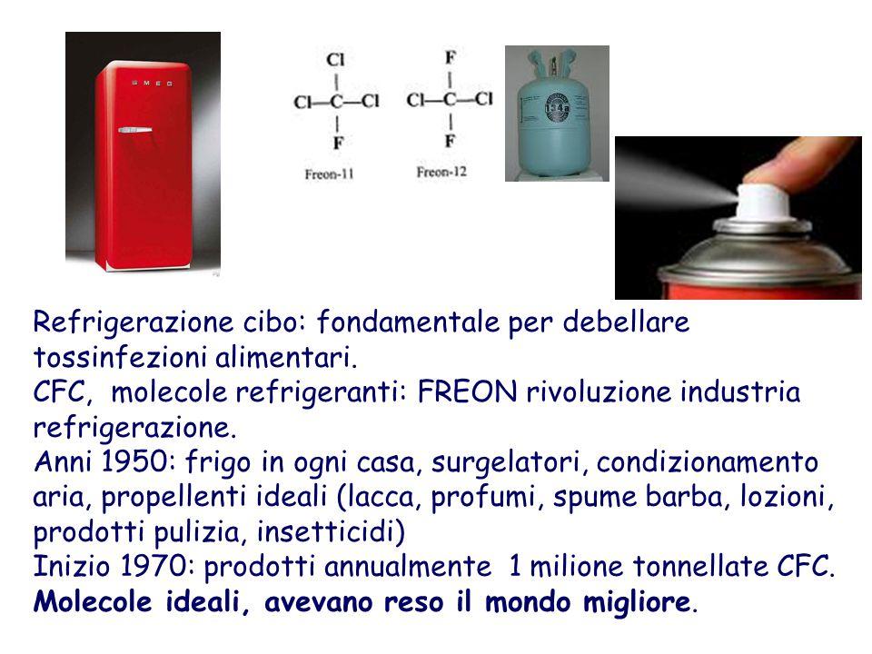 Refrigerazione cibo: fondamentale per debellare tossinfezioni alimentari. CFC, molecole refrigeranti: FREON rivoluzione industria refrigerazione. Anni
