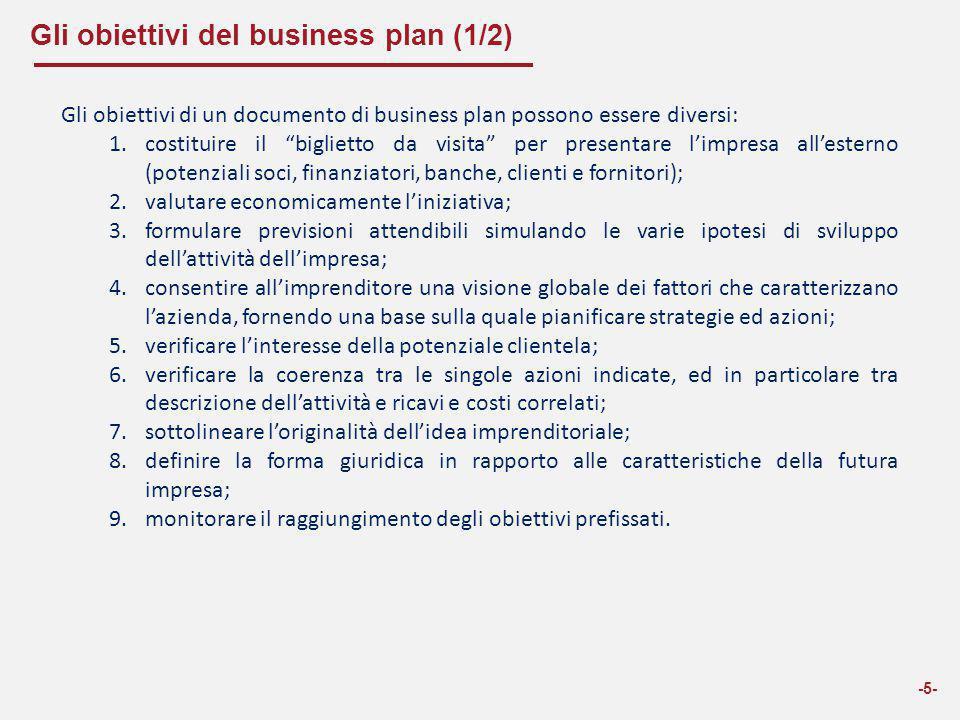 Gli obiettivi del business plan (2/2) -6- In sintesi si individuano due macro funzioni del Business Plan: una interna di analisi e pianificazione, per chiarire le idee al futuro imprenditore su tutti i vari aspetti dell'avvio di una nuova attività; una esterna di comunicazione, per esporre l'idea a potenziali soci, finanziatori, fornitori, clienti e banche.