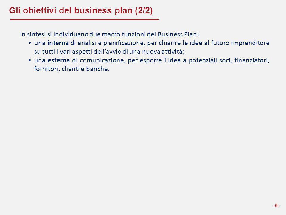 Gli obiettivi del business plan (2/2) -6- In sintesi si individuano due macro funzioni del Business Plan: una interna di analisi e pianificazione, per