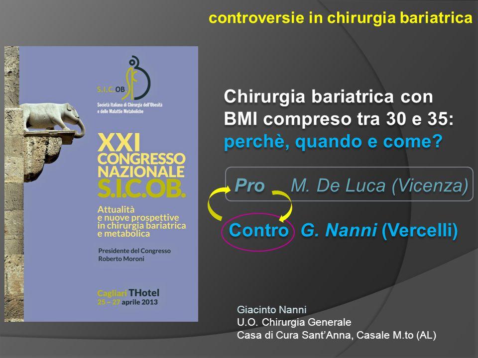 controversie in chirurgia bariatrica Chirurgia bariatrica con BMI compreso tra 30 e 35: perchè, quando e come? Pro M. De Luca (Vicenza) Contro G. Nann